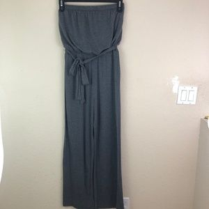 Jumpsuit Medium Gray Strapless Knit Soft Long Pant